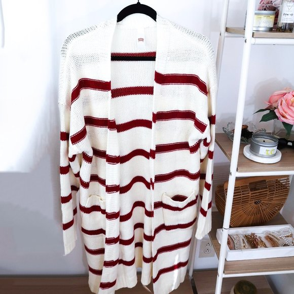 Red & White Striped Cardigan Sweater
